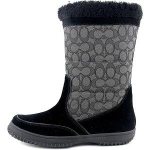 COACH BLACK SIGNATURE SHERMAN MID BOOTS